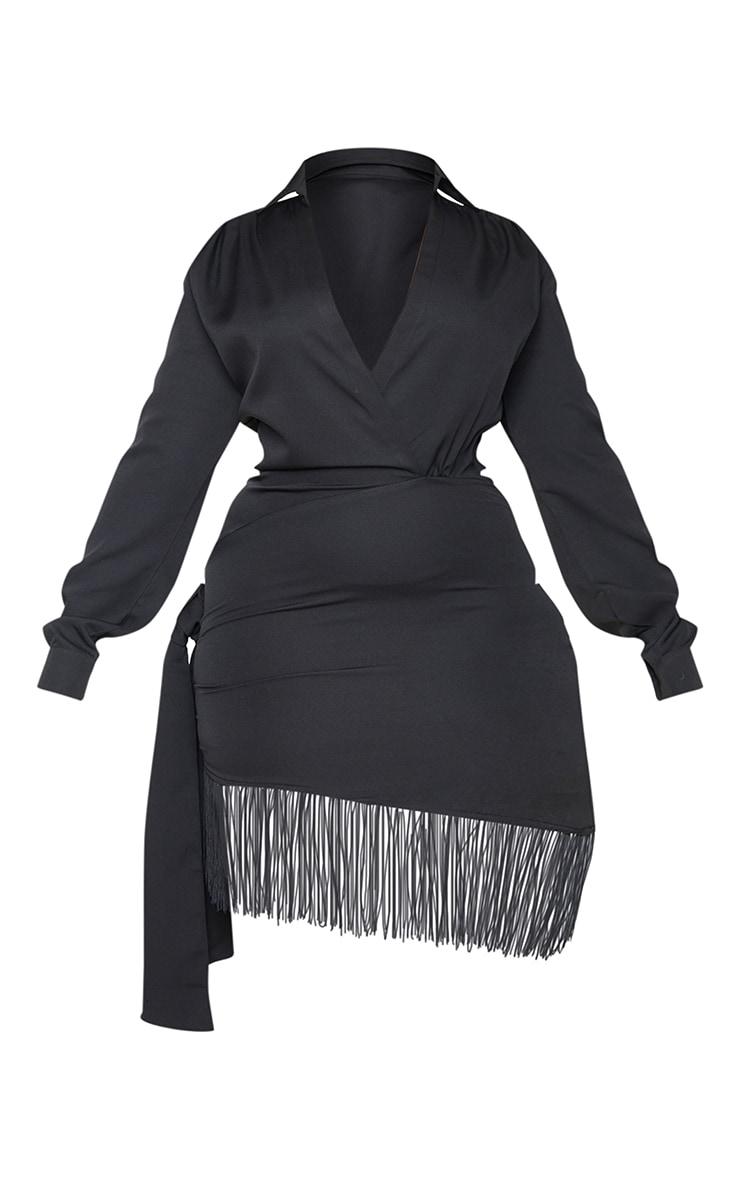 Plus Black Long Sleeve Tassel Hem Drape Detail Bodycon Dress 5