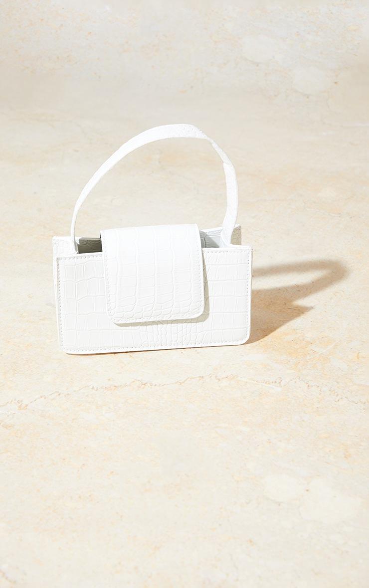 White Croc Front Flap Mini Bag 2