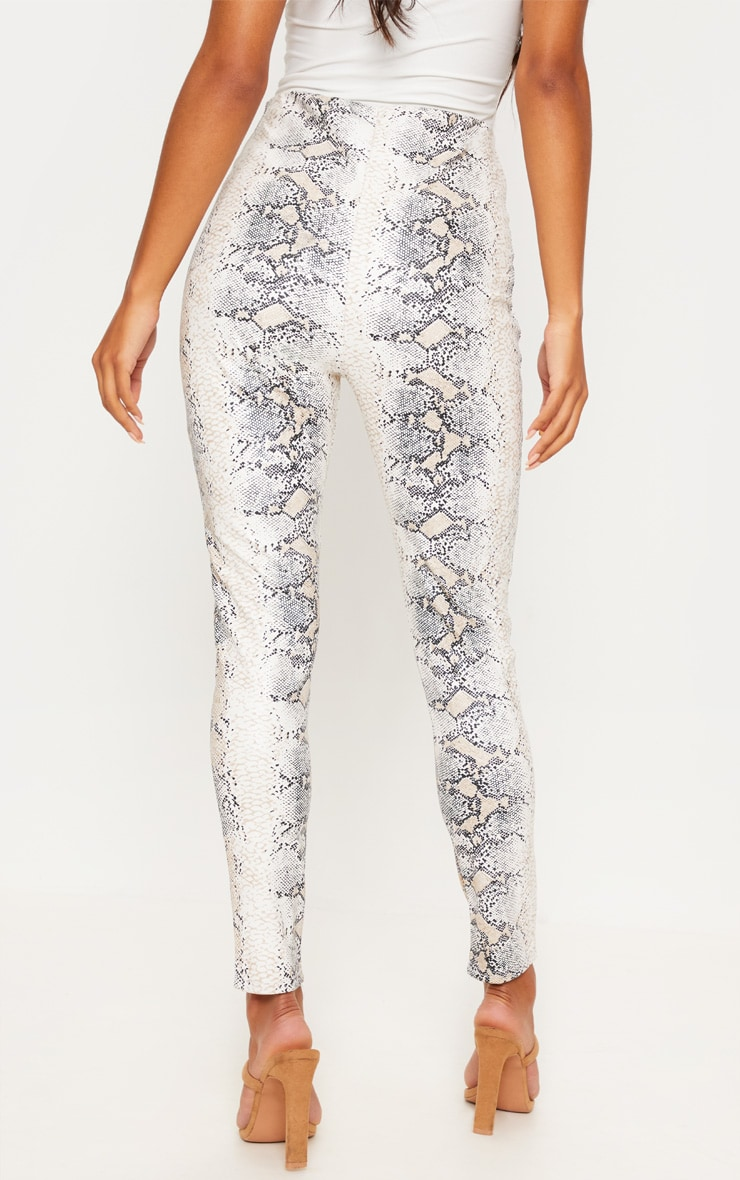 White Snakeskin Faux Leather Skinny Pants 4