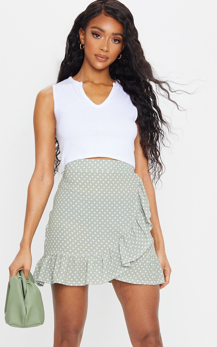 Sage Green Polka Dot Frill Hem Wrap Mini Skirt 4