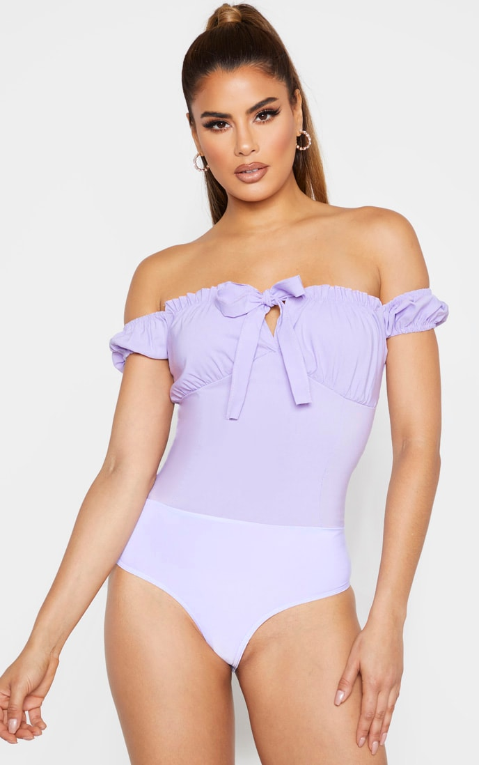 Tall Dusty Lilac Woven Bardot Tie Front Bodysuit 2