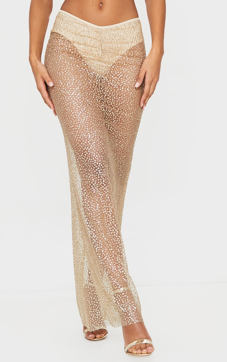 Gold Glitter Printed V Waist Sheer Maxi Skirt 2