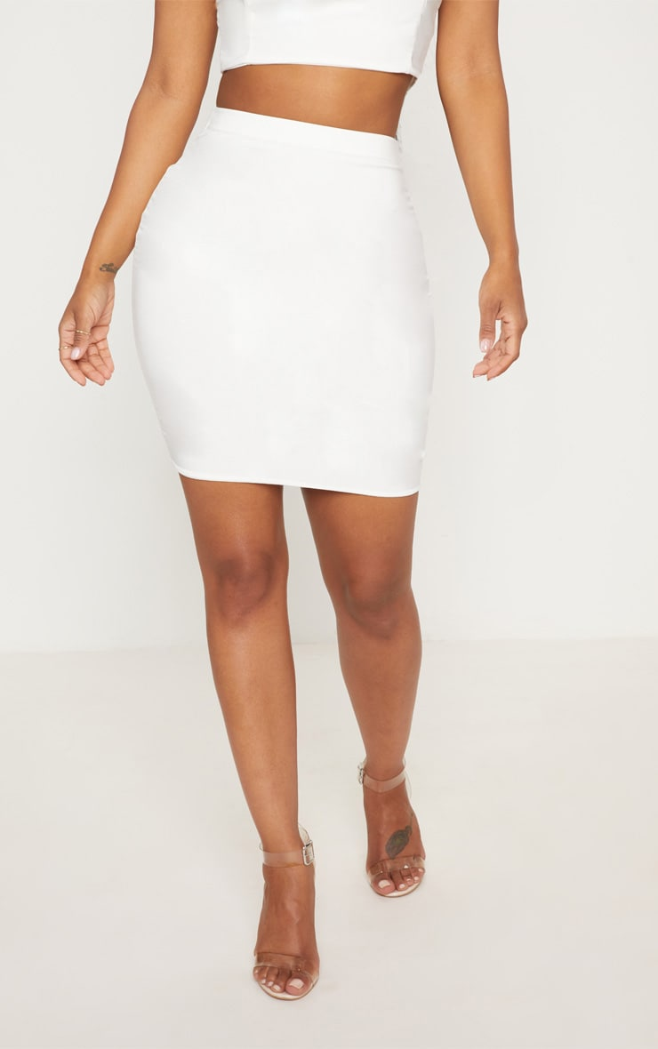 Shape Ivory Slinky Mini Skirt 2