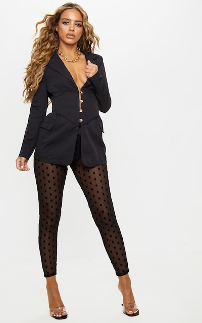 Petite Black Polka Dot Mesh Leggings