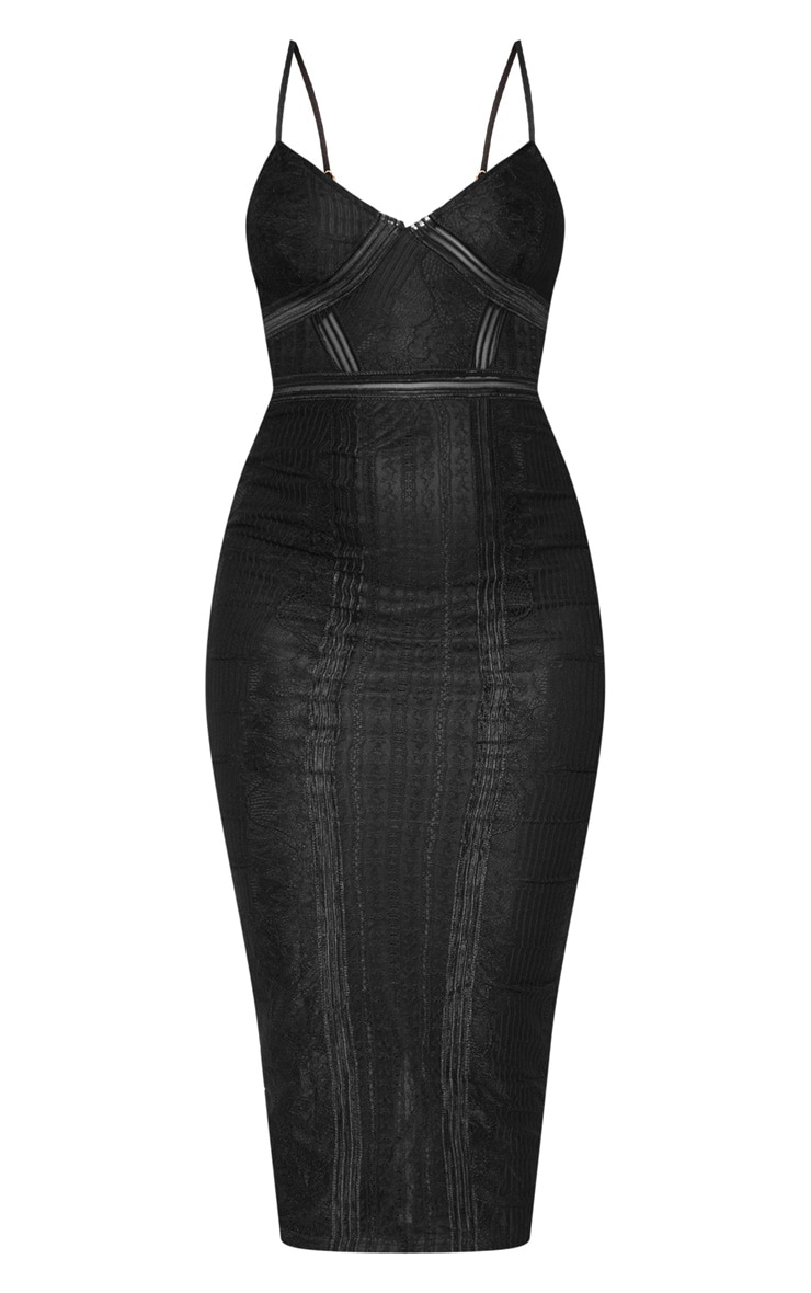 Black Lace Mesh Stripe Insert Midi Dress 3