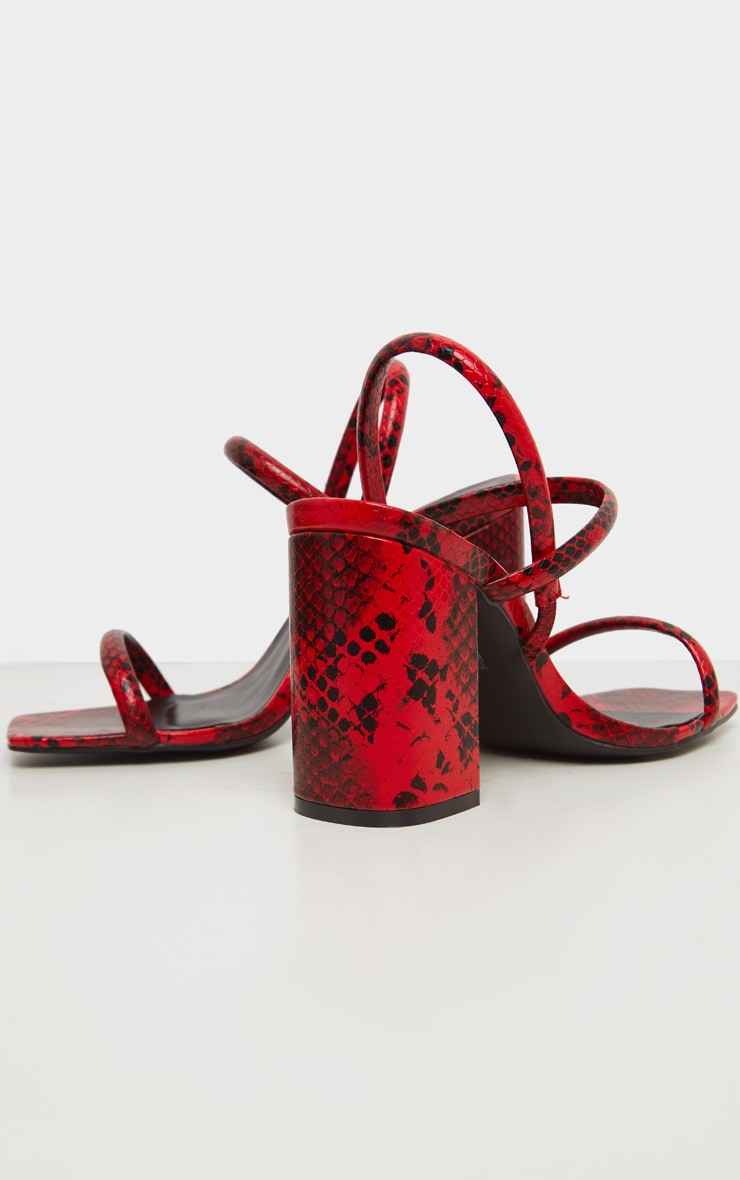 Red Snake Wide Fit Chunky Block Heel Slingback Sandal 4