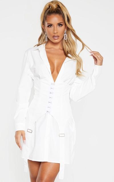White Hook & Eye Suspender Corset Detail Shirt Dress