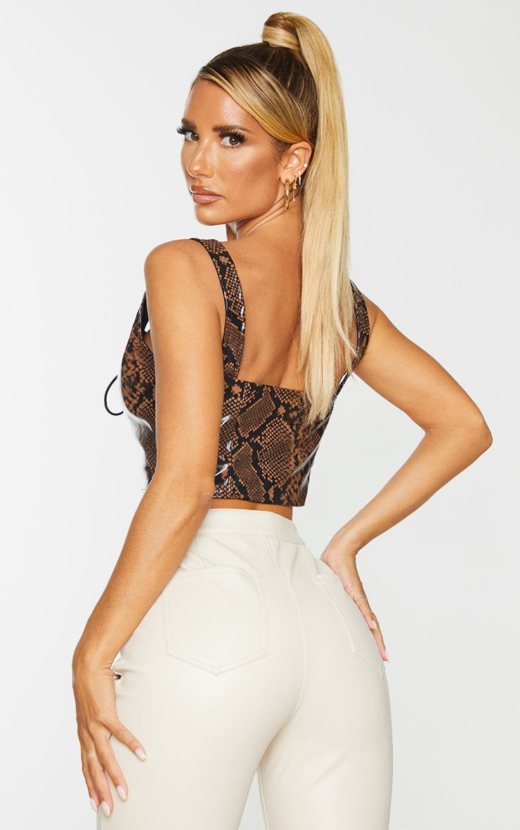 Brown PU Snake Print Lace Front Crop Top 2