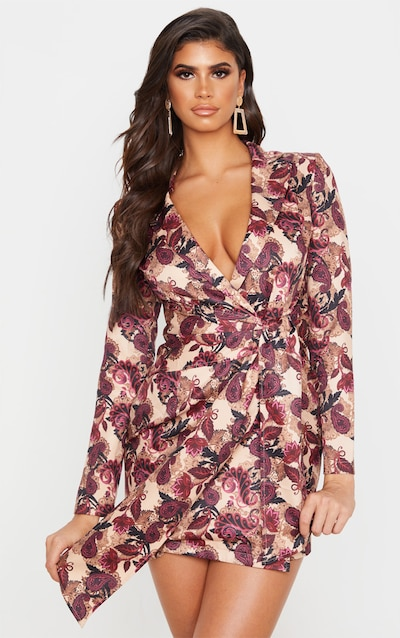 Burgundy Paisley Print Wrap Detail Blazer Dress