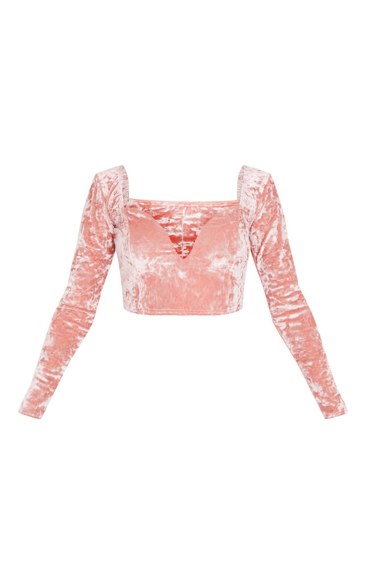 Blush Velvet V Wire Long Sleeve Crop Top 3