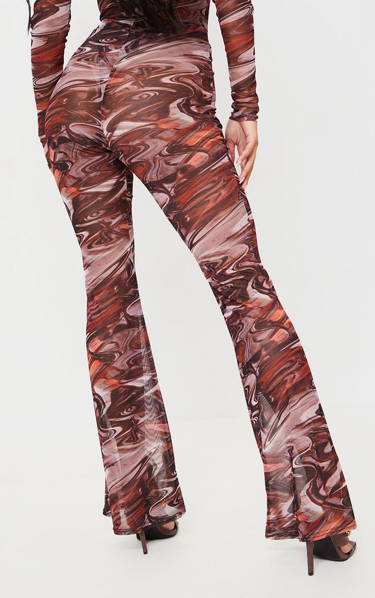 Chocolate Brown Printed Sheer Mesh Flared Pants 3