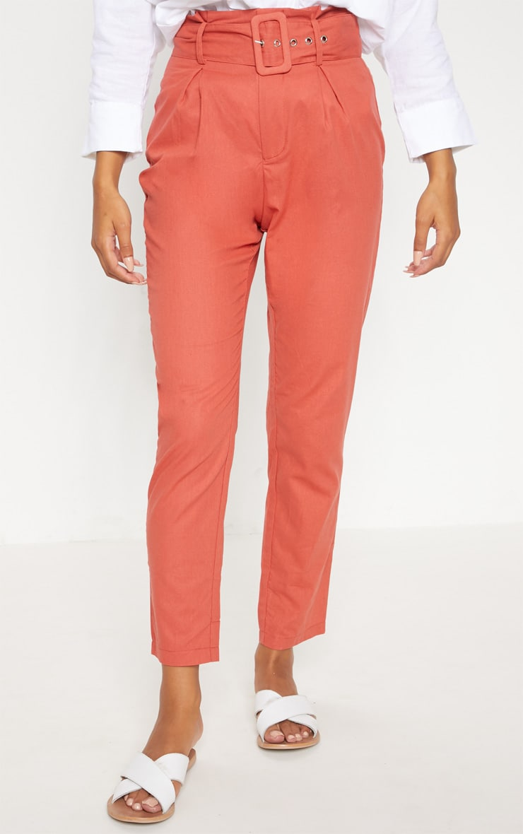 Rust Belted Paperbag Tapered Trouser 2