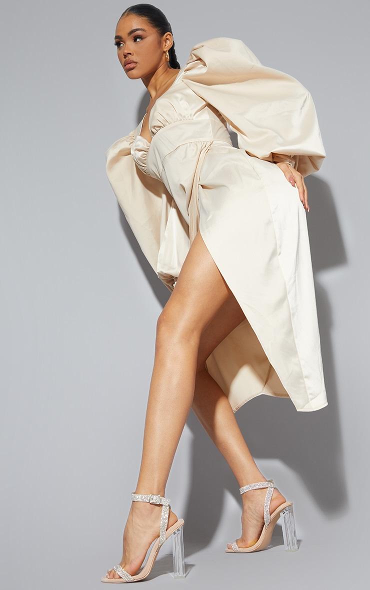 Nude Clear Block Heel Diamante Strap Sandal 2