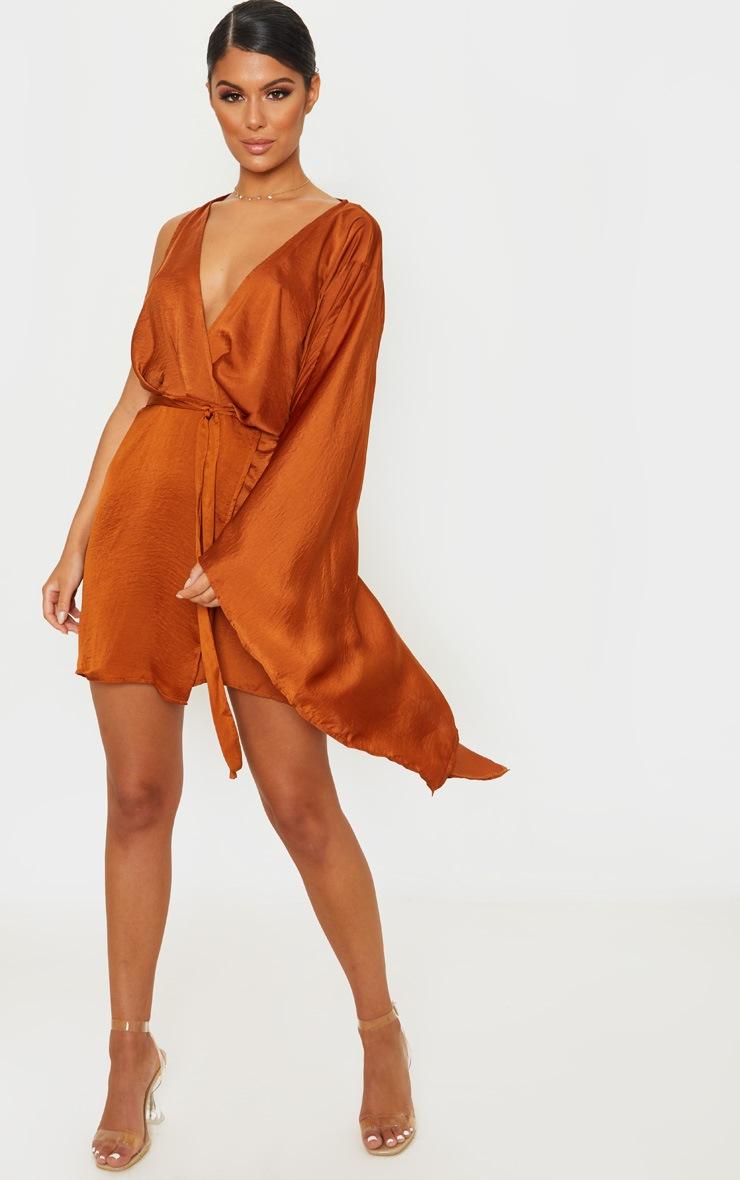 Rust Drape Sleeve Wrap Shift Dress 4