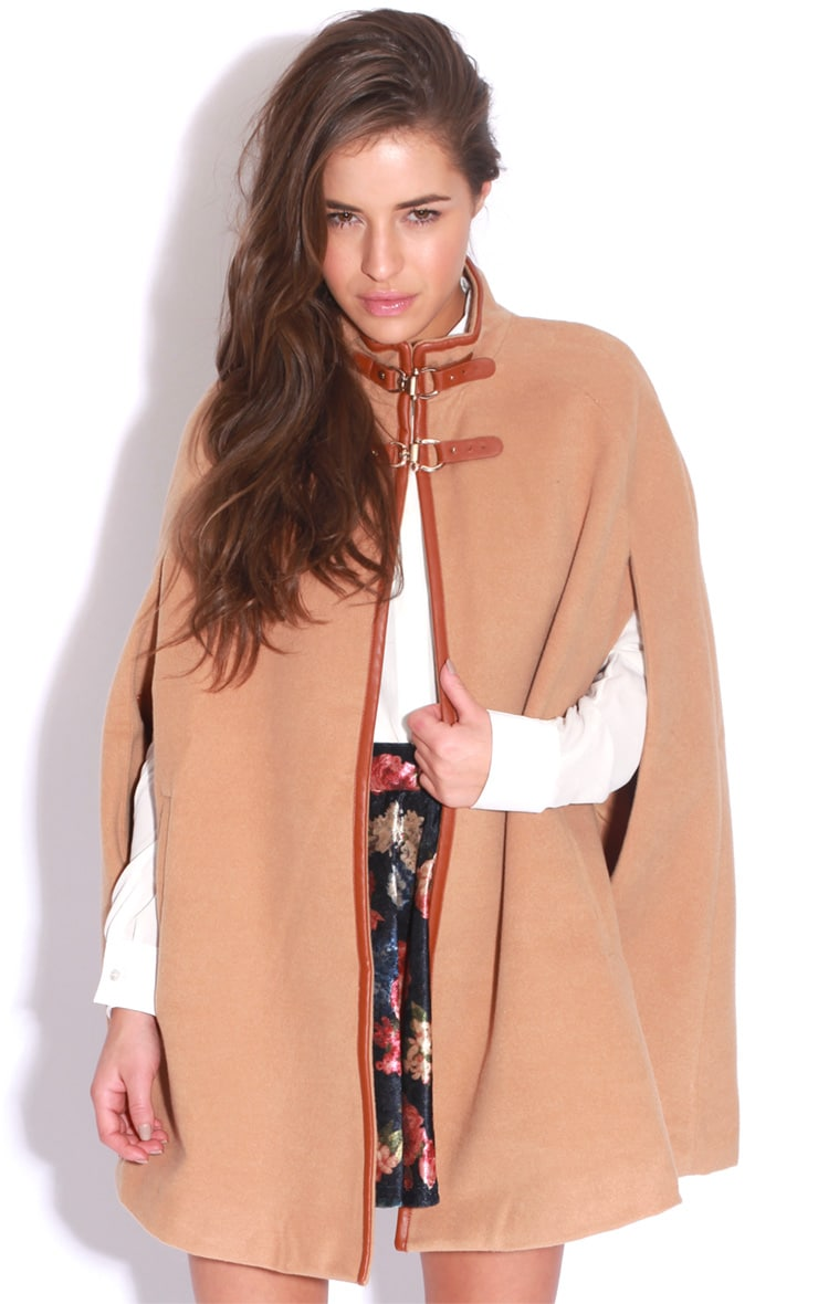 Renata Beige Buckle Cape Coat 5