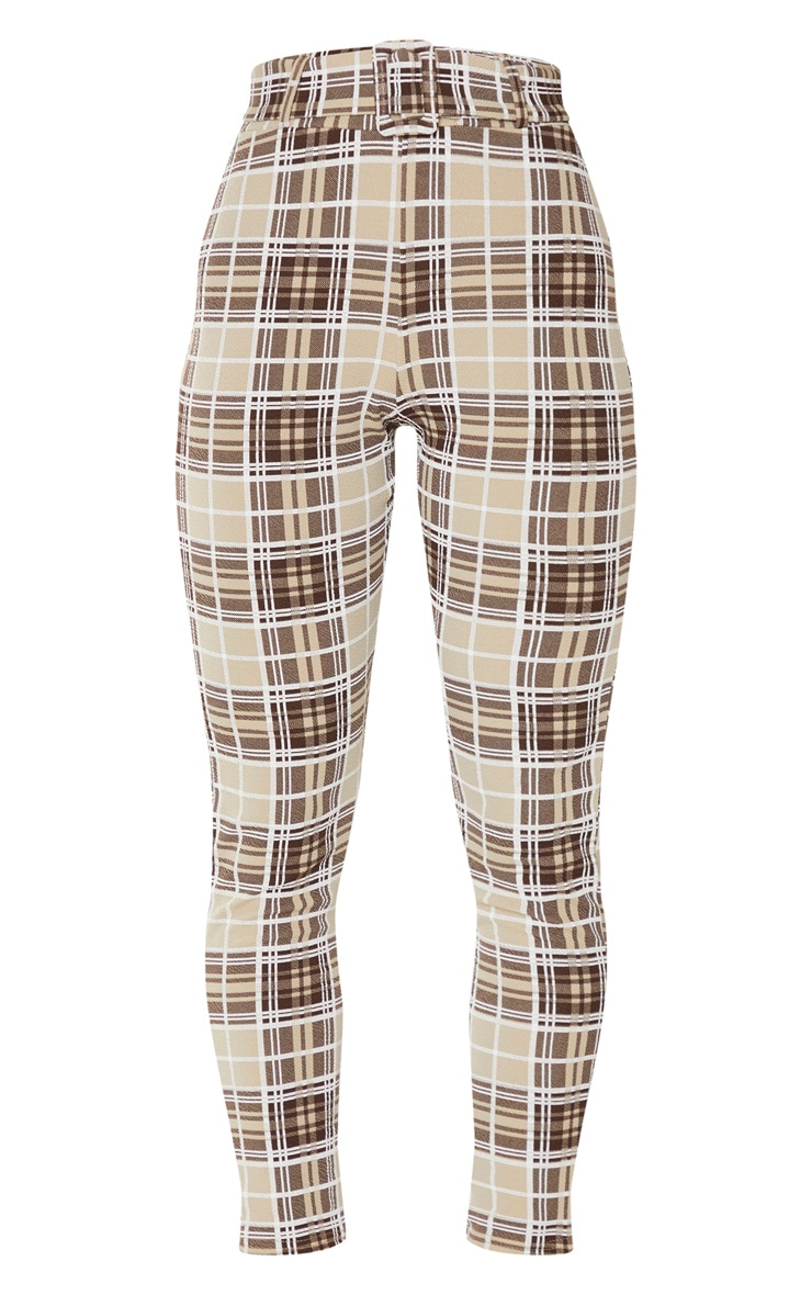 Stone Check Belted Skinny Trousers 5