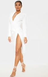 White Knot Detail Blazer Style Midi Dress 4