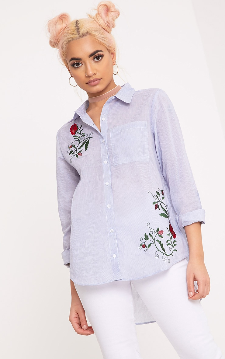 Indii Blue Embroidered Stripe Shirt 1