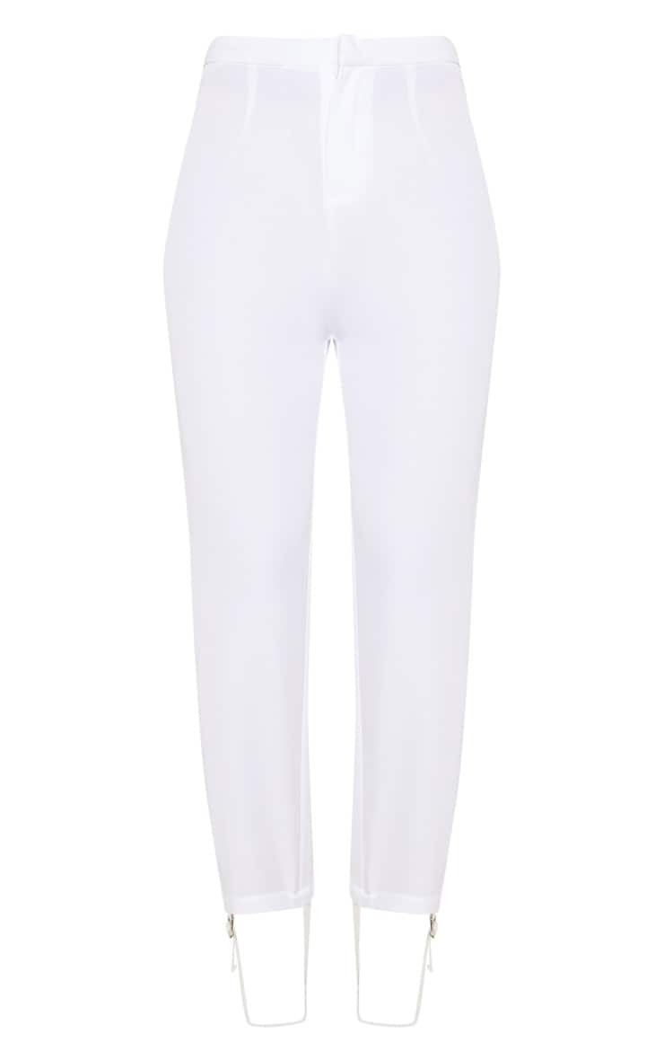 White Woven Stirrup Trouser 3