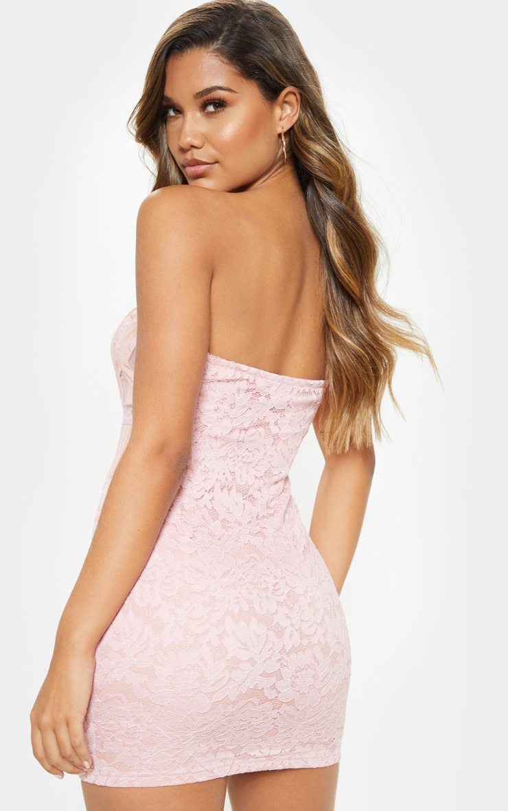 Dusty Pink Bandeau Lace Mesh Insert Bodycon Dress 2