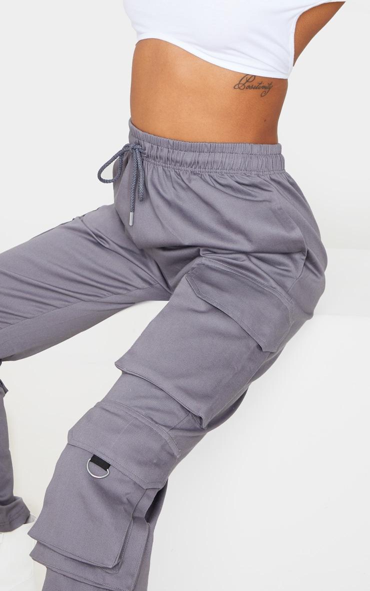 Grey Twill Oversized Utility Pants 5
