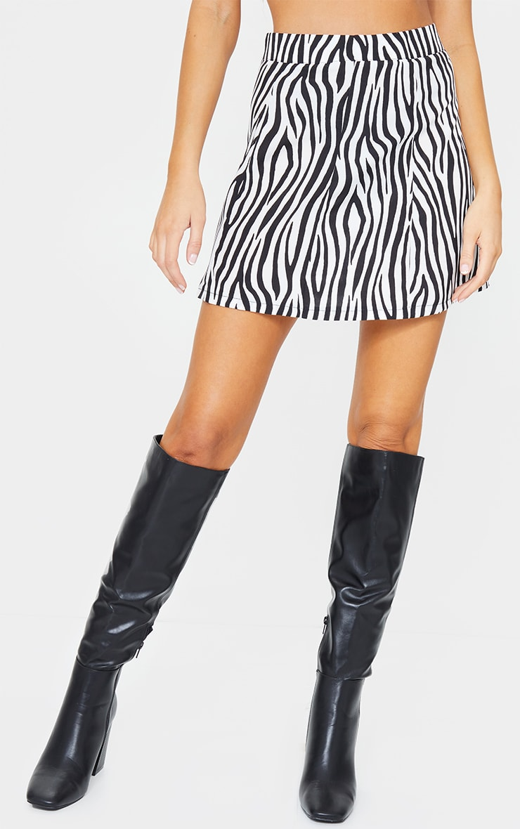 Zebra Print Satin Mini Skirt 2
