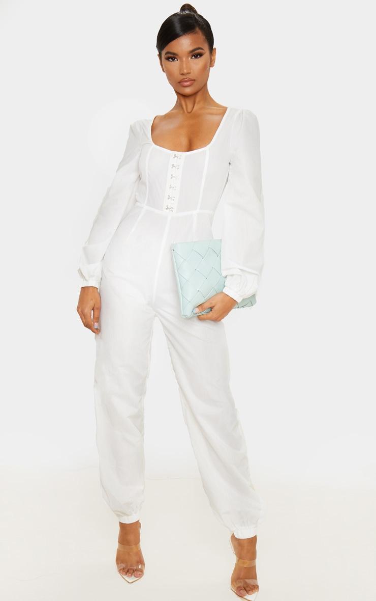 White Corset Detail Long Sleeve Jumpsuit 1
