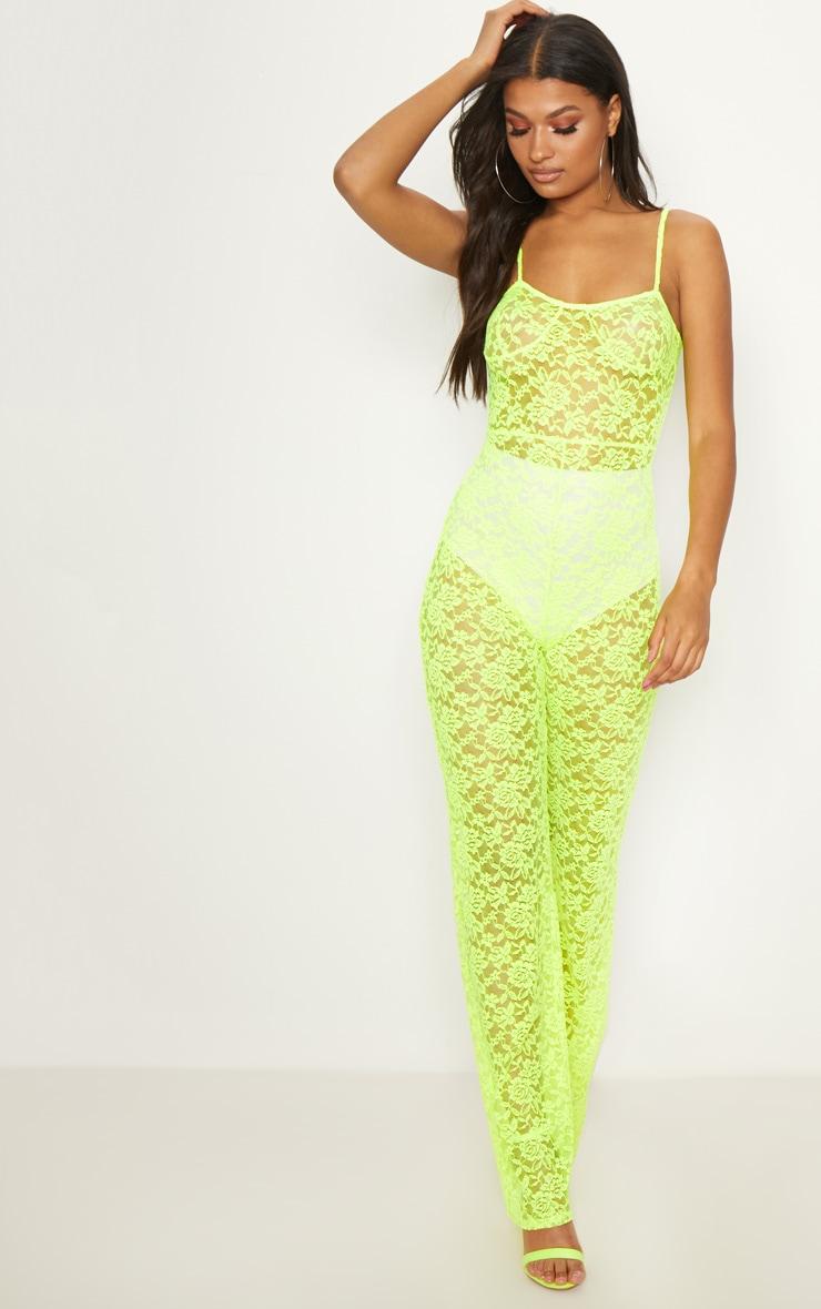 Lime Lace Straight Neck Jumpsuit 1