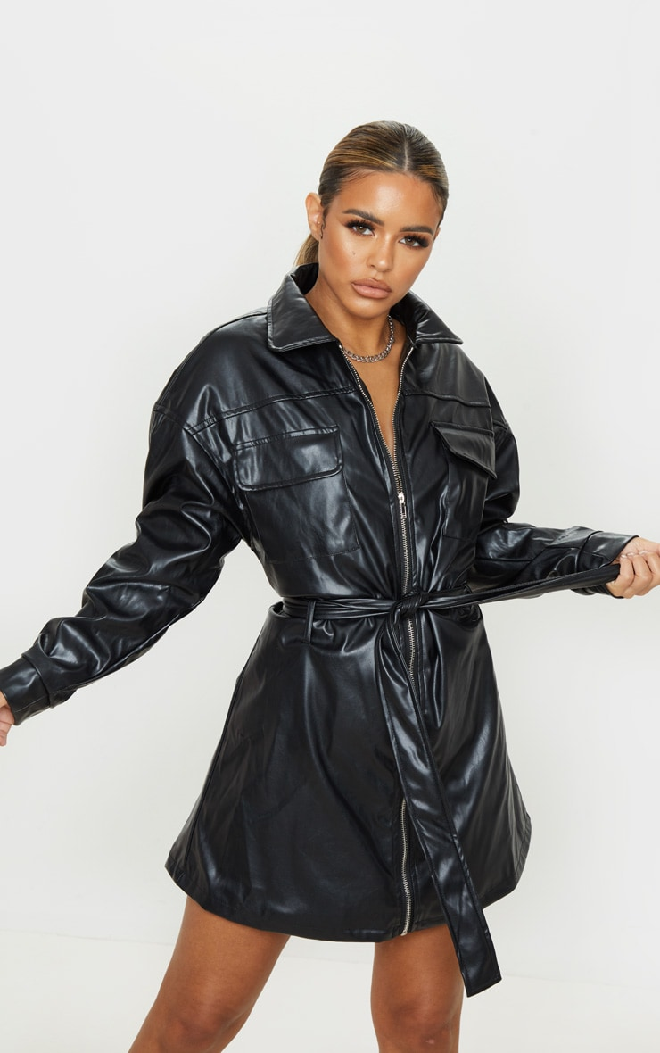 Petite Black Belted PU Jacket Dress 4