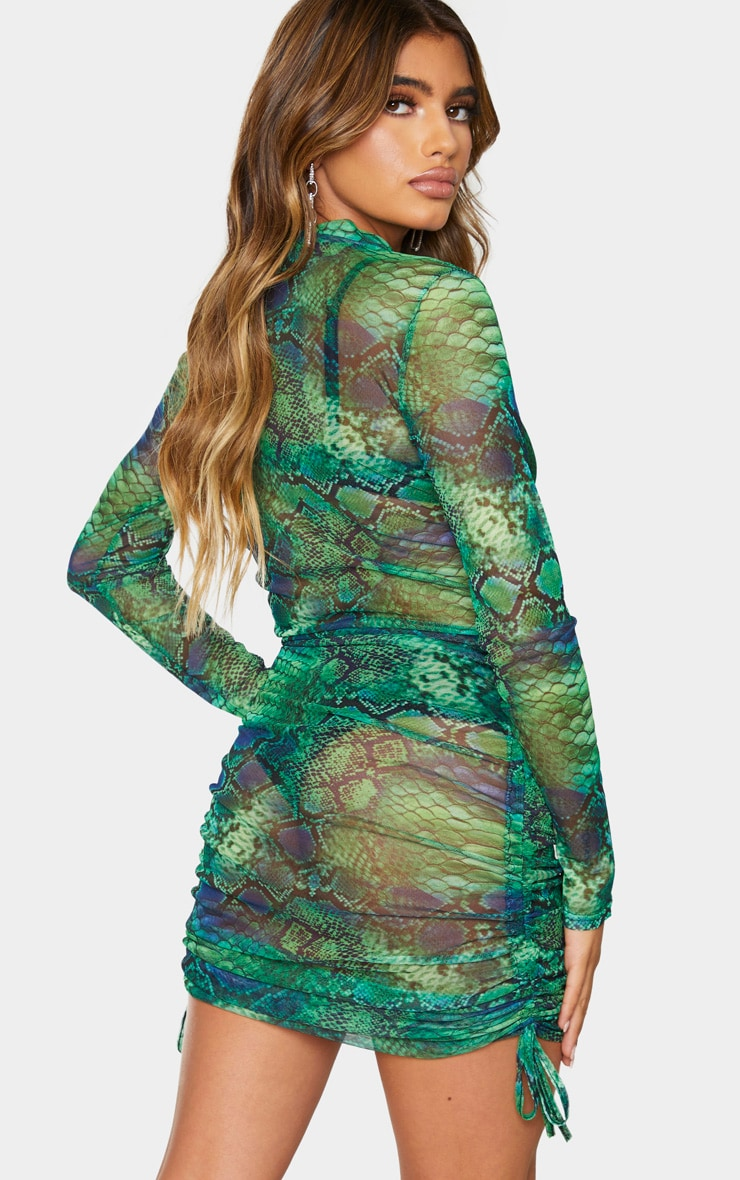 Green Snake Print Mesh Ruched Detail Long Sleeve Bodycon Dress 3