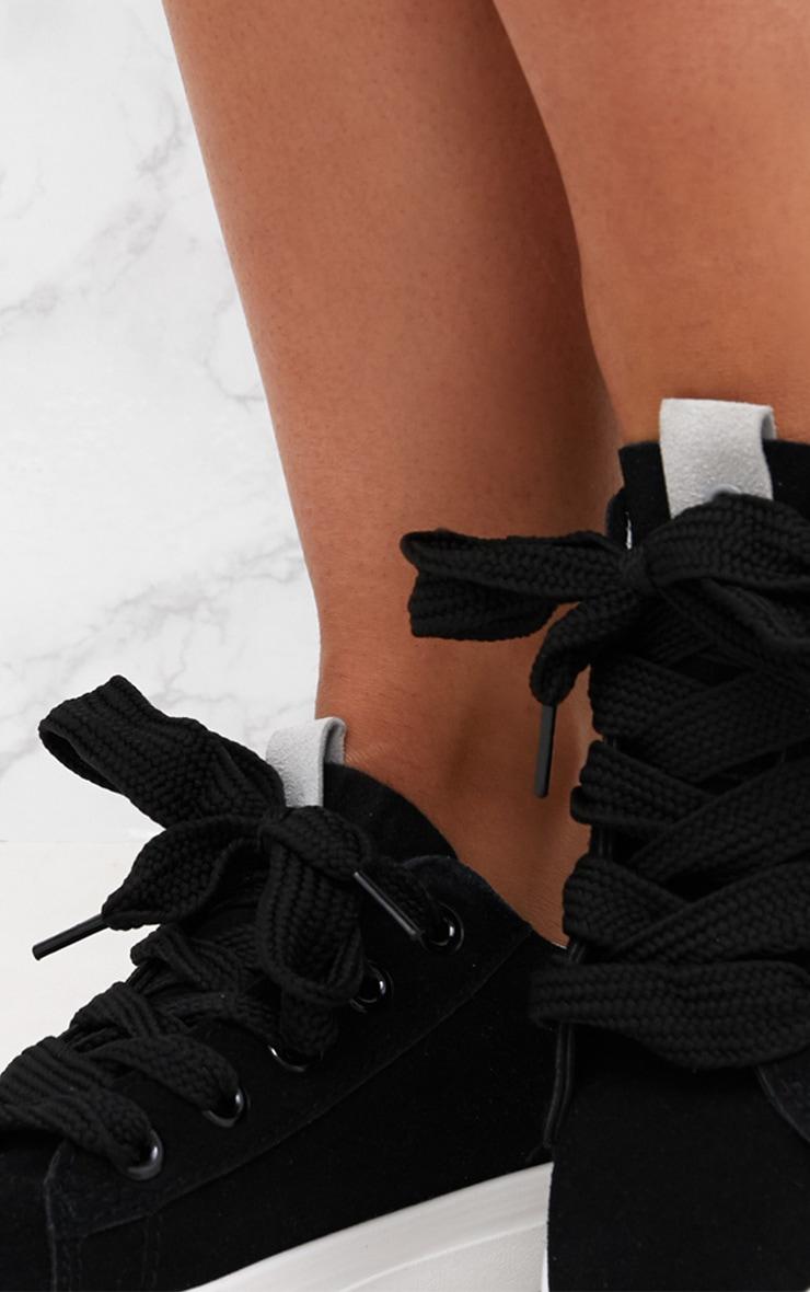 Black Suedette Lace Up Trainer 5