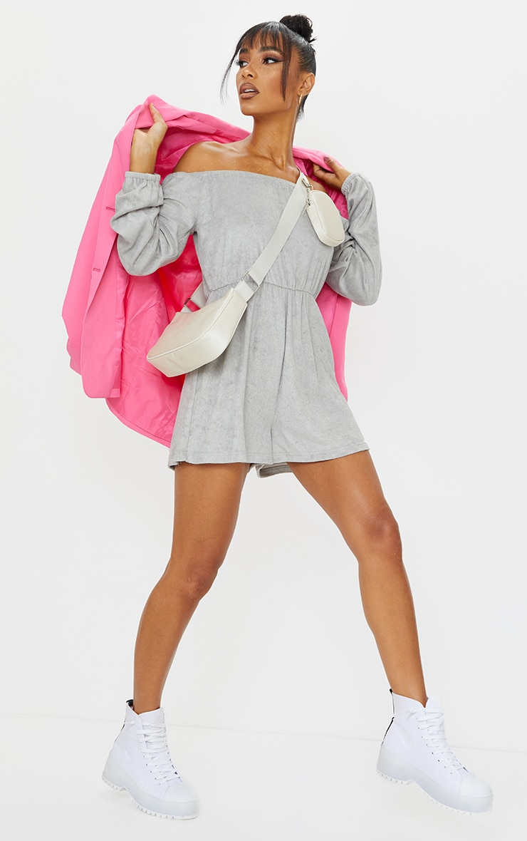 Grey Towelling Bardot Playsuit 3