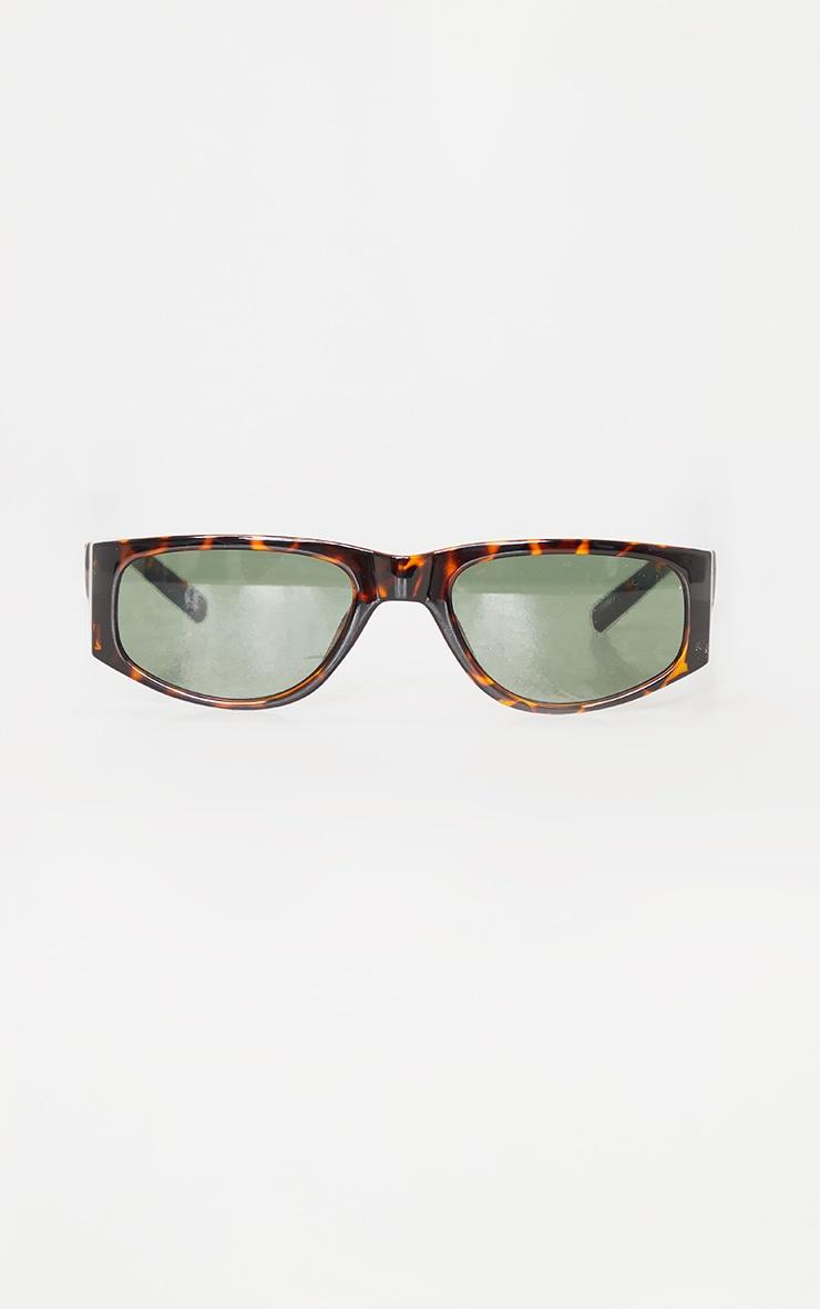 Brown Tortoise Slimline Square Frame Sunglasses 2