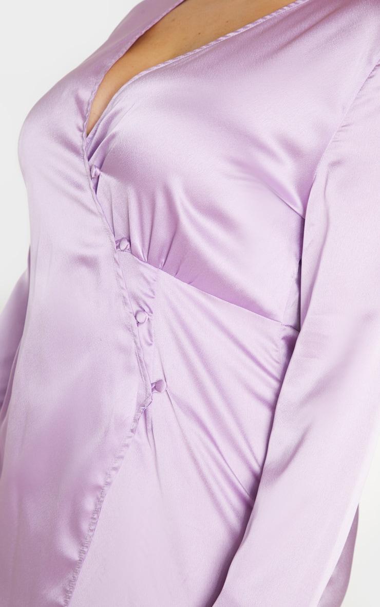PLT Plus - Robe droite boutonnée lilas satinée 4