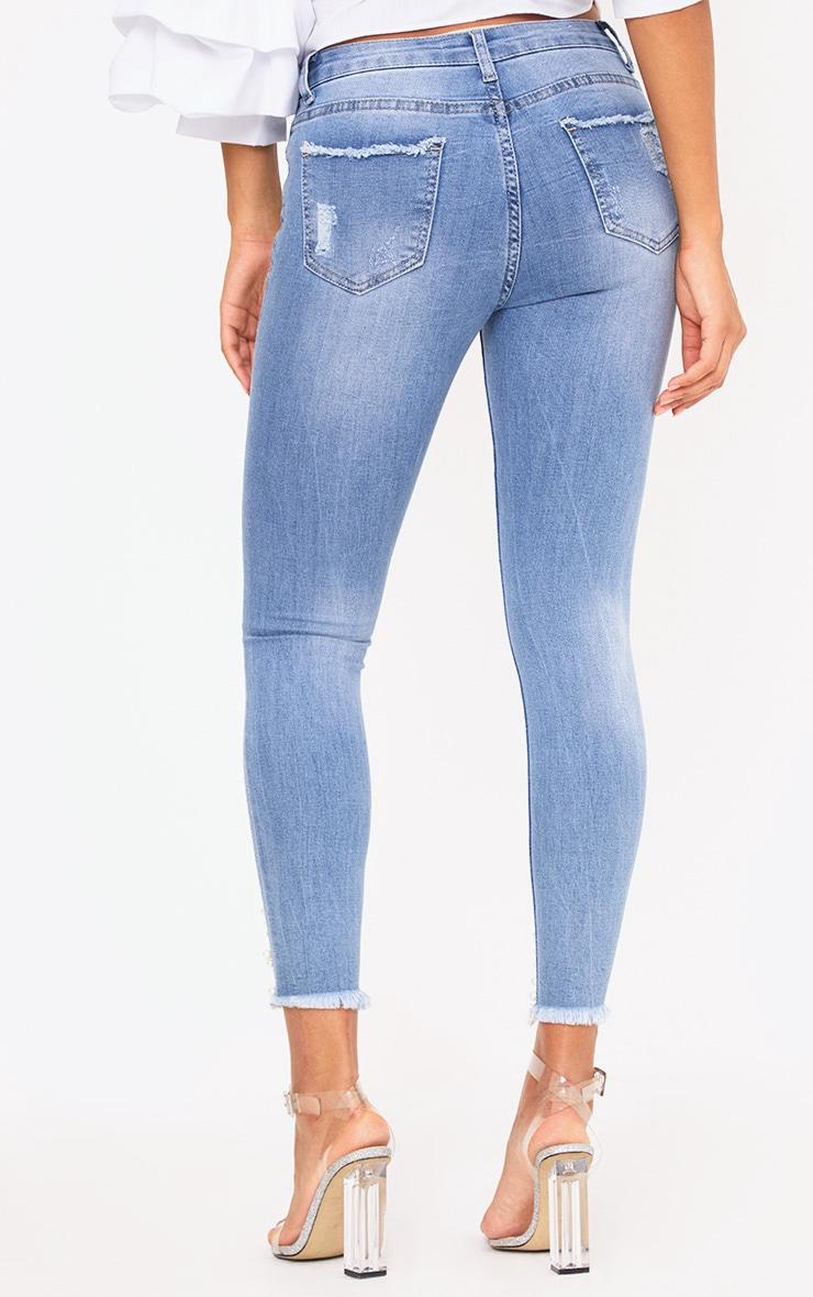 Mid Wash Pearl Embellished Distressed Skinny Jean 4