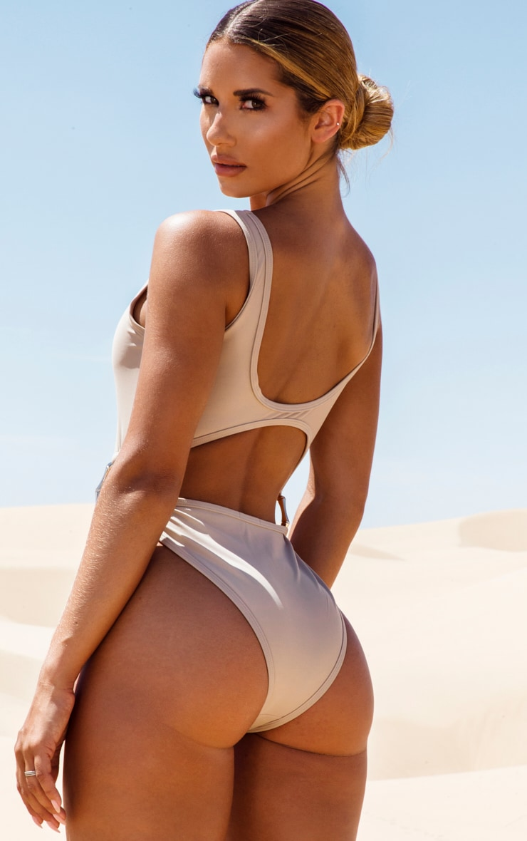 Stone Bamboo Ring Cut Out Swimsuit 2