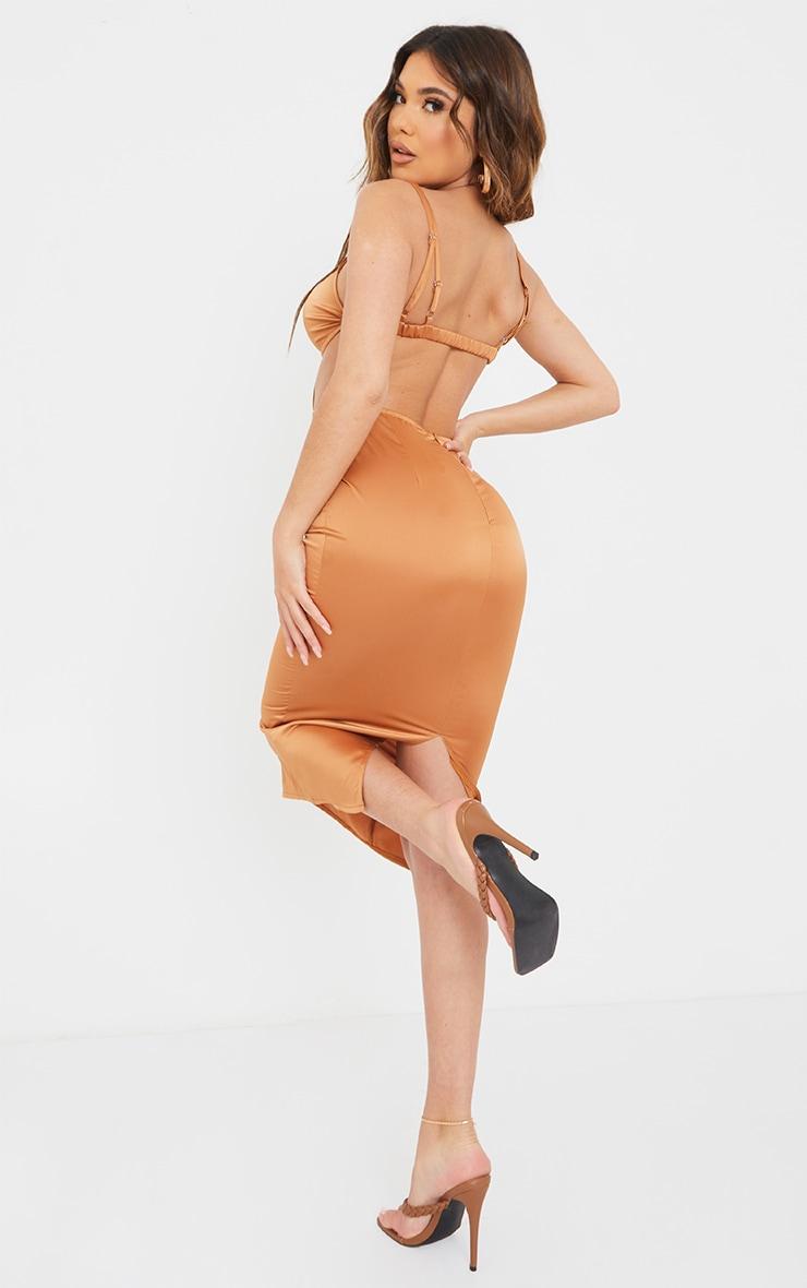 Chocolate Strappy Bralette Detail Cut Out Midi Dress 2