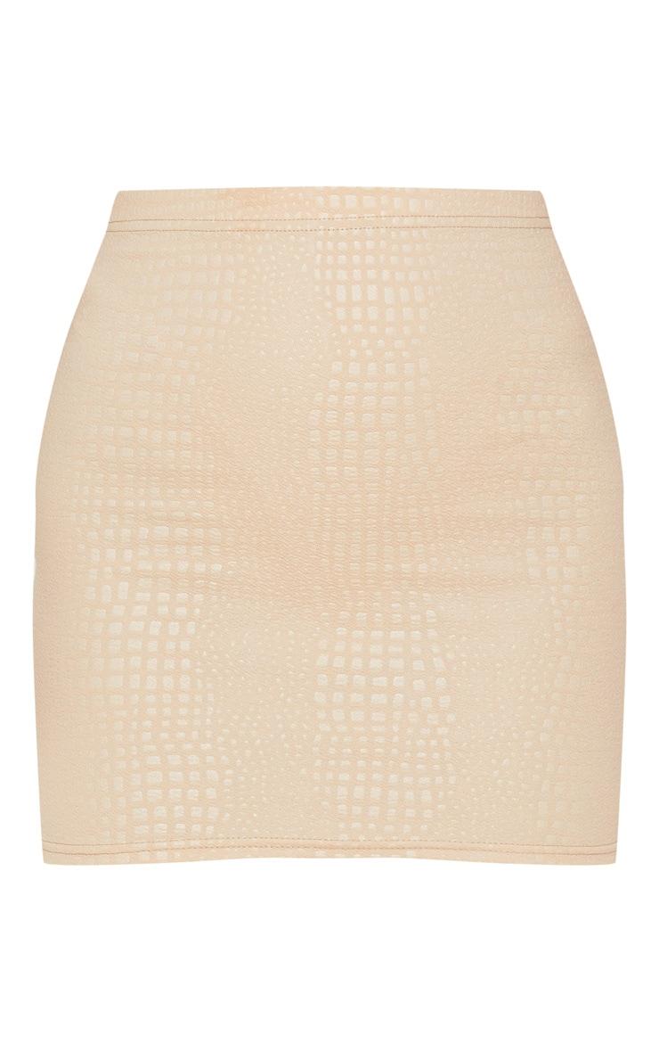 Stone Croc Print Bodycon Mini Skirt 3