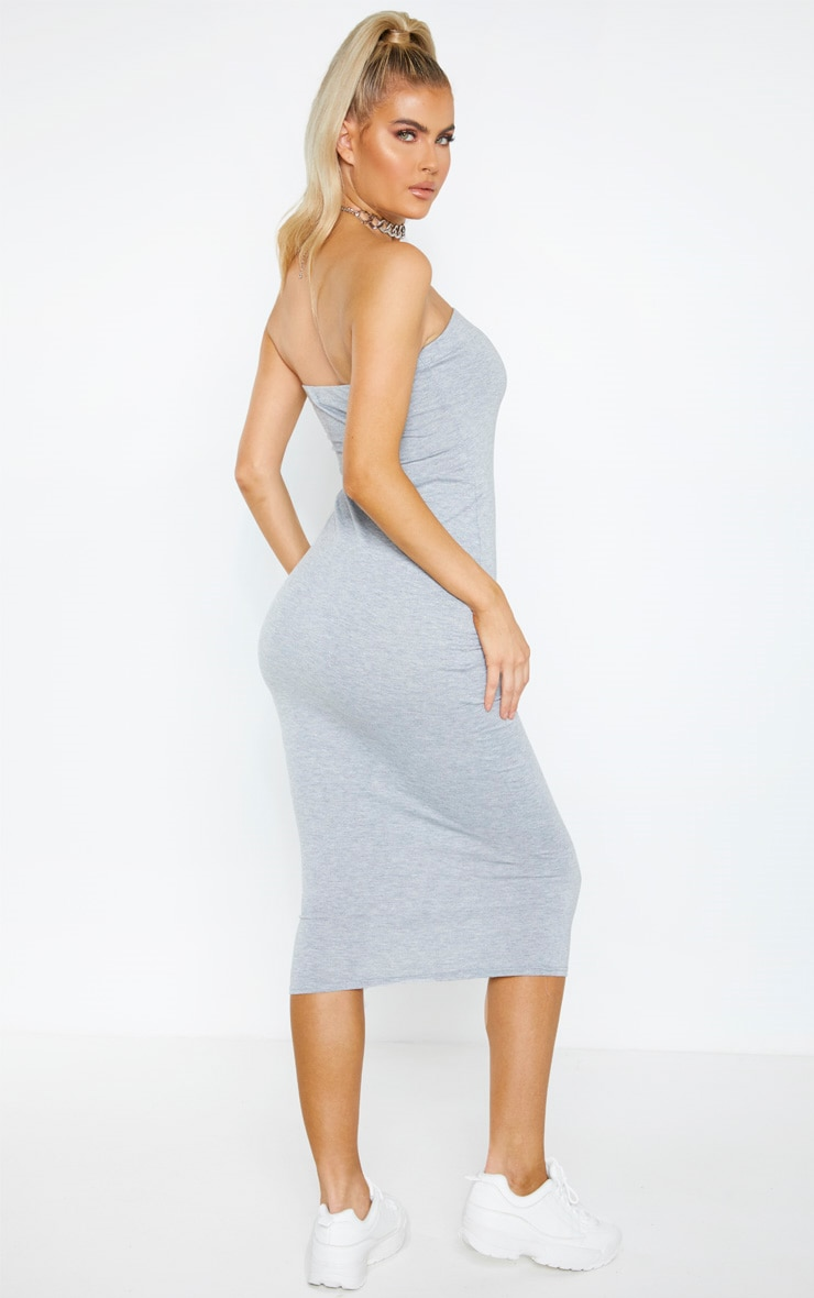 Tall Grey Bandeau Jersey Midi Dress 2