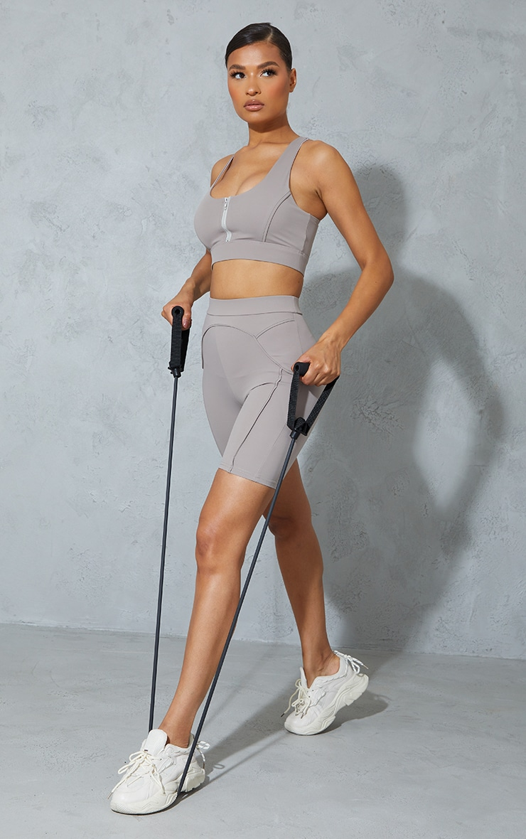 Taupe Contrast Bike Shorts 1