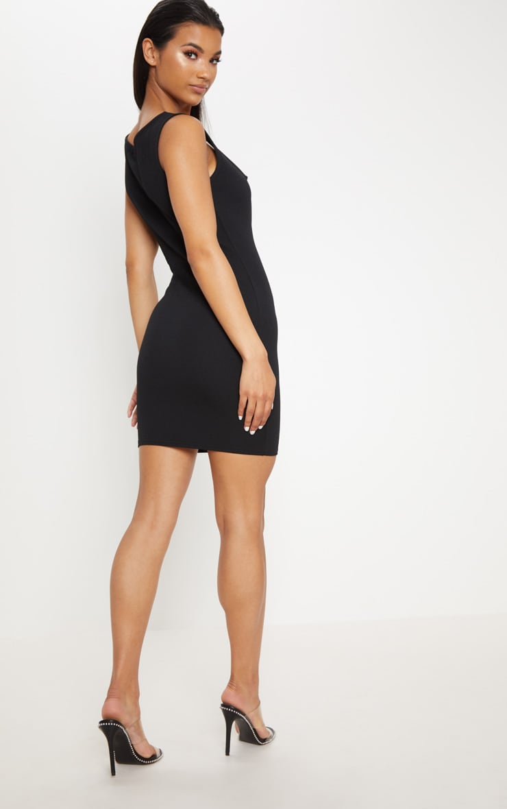 Black Sleeveless Cut Out Ring Detail Bodycon Dress 2