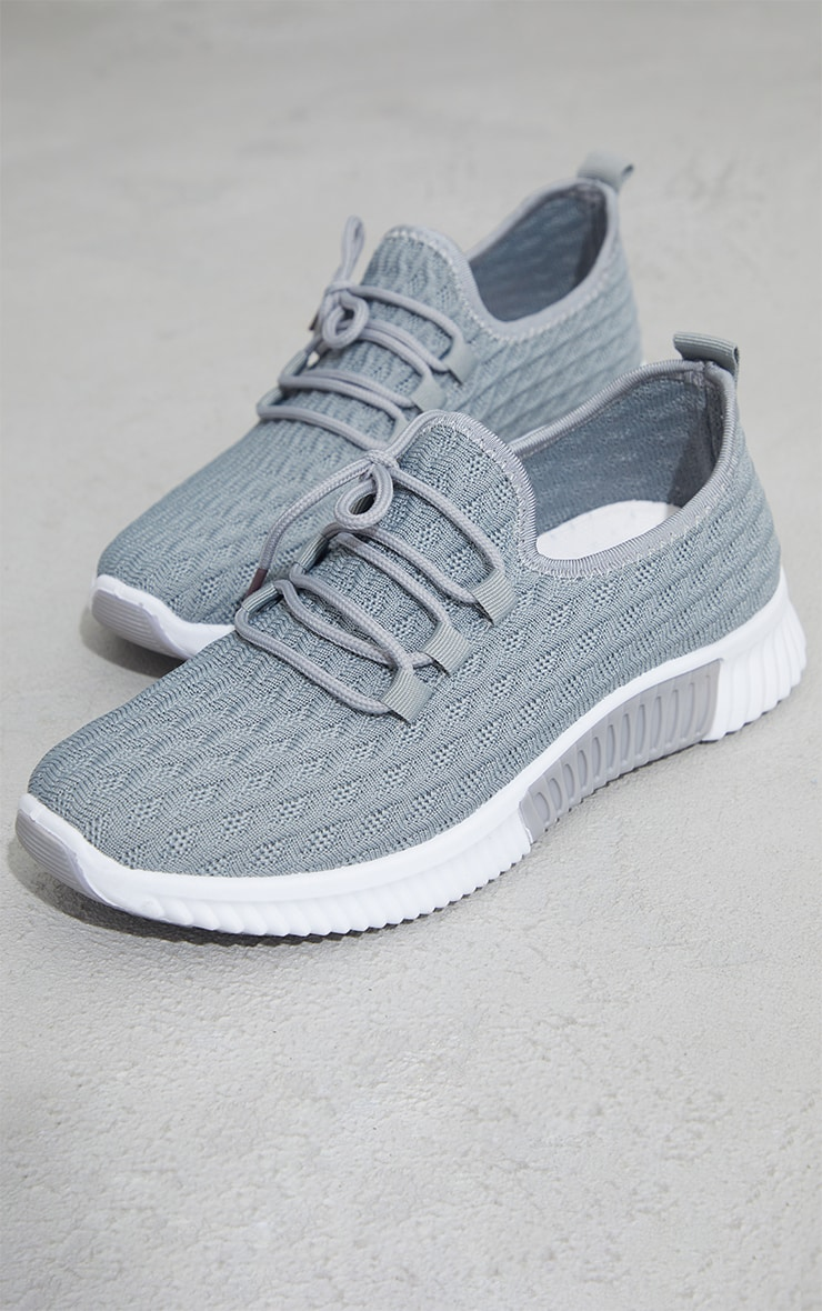 Grey Knitted Lace Up Sports Sneakers 3