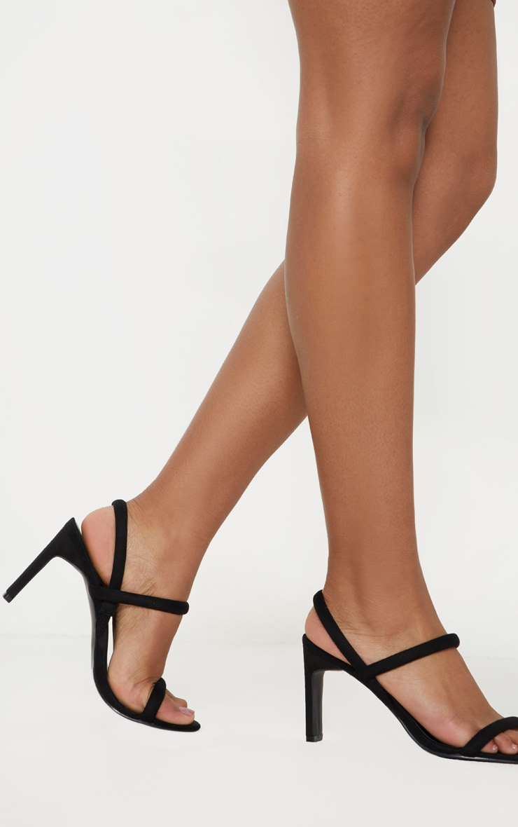Black Tube Strappy Square Toe Sandal 1