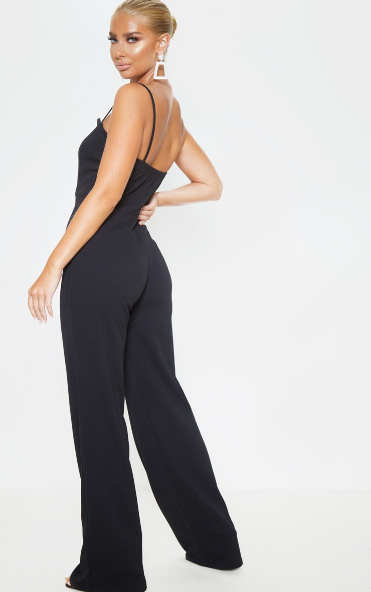 Black Strappy Pleated Plunge Jumpsuit 2