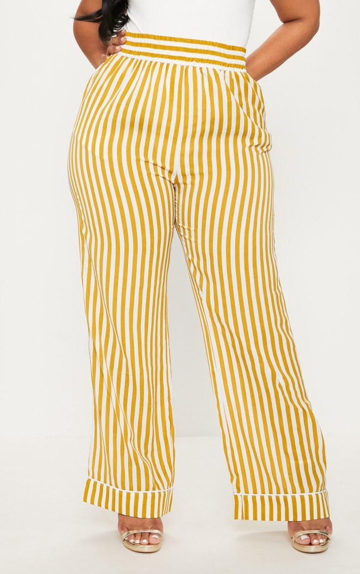 Plus Chartreuse Striped Print Wide Leg Trousers 2