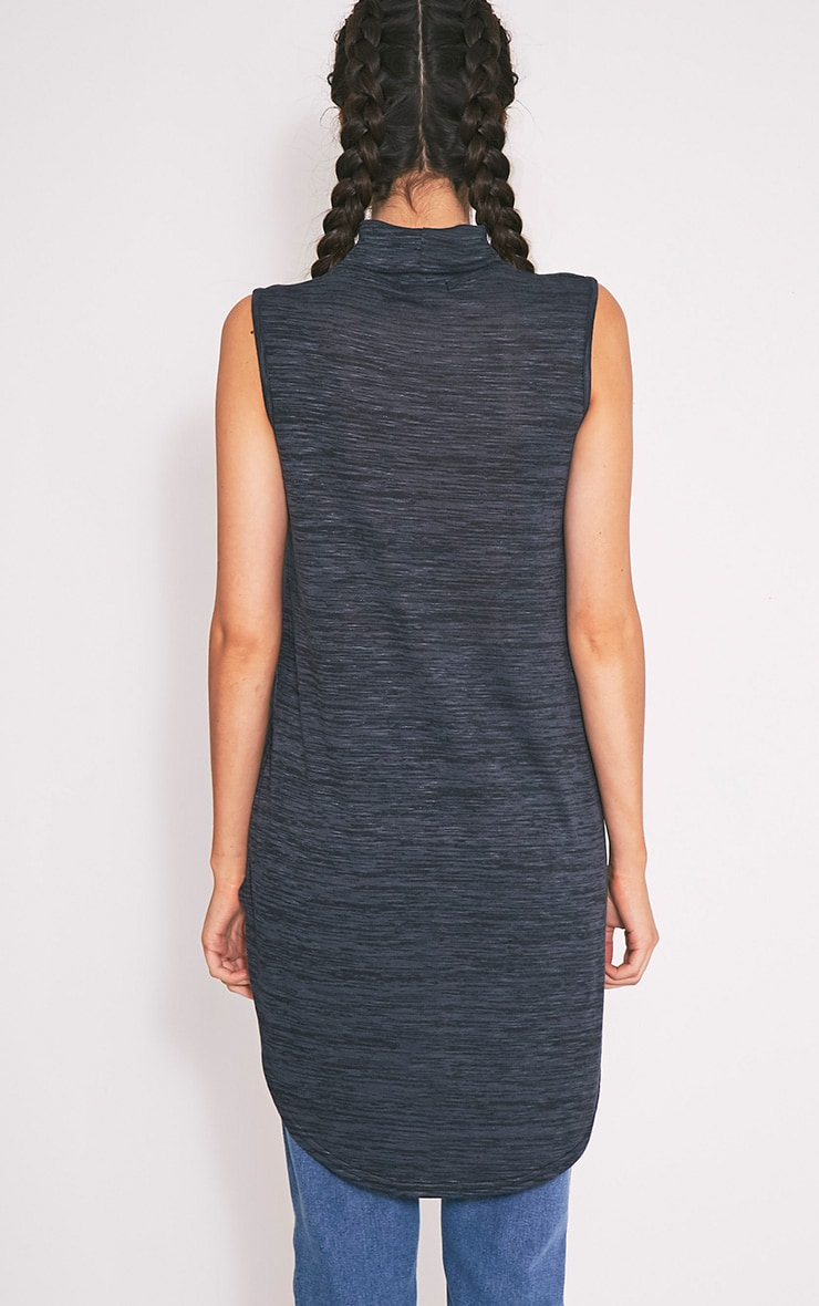 Miae Navy Fine Knit High Neck Top 2