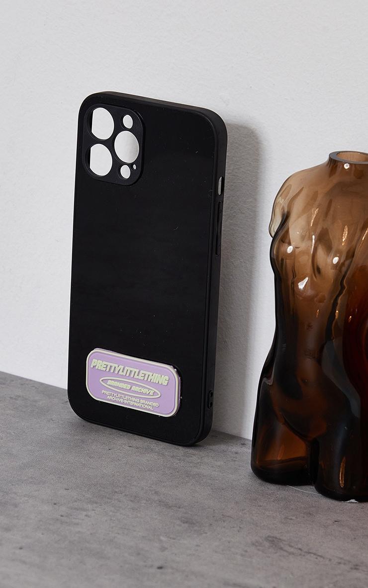 PRETTYLITTLETHING - Coque noire à imprimé Branded Archive pour iPhone 12 Pro Max 2