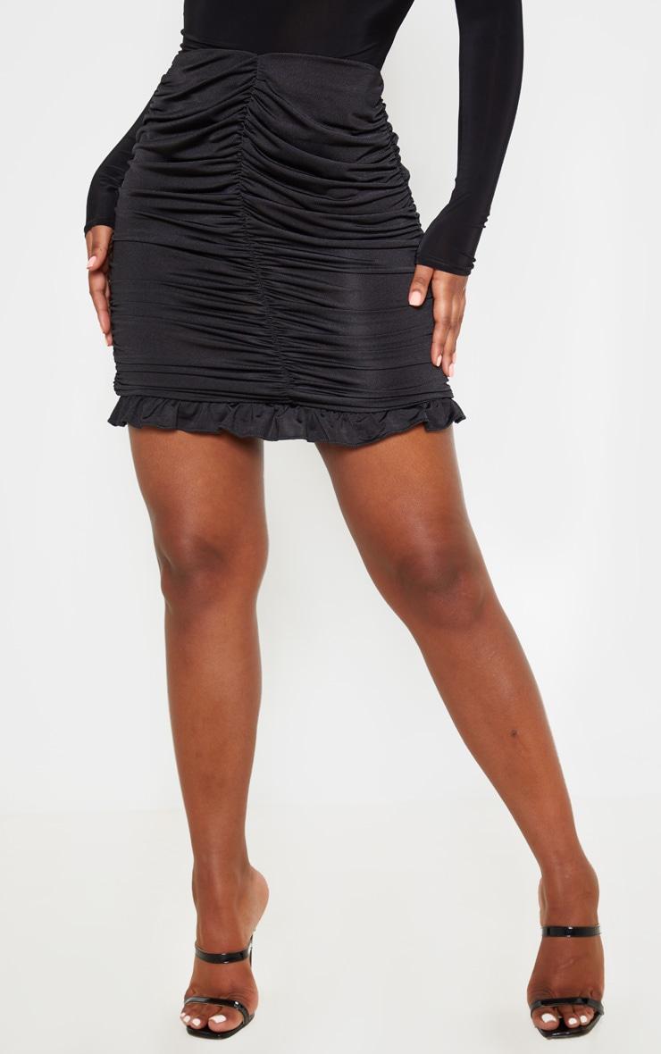 Black Slinky Ruched Frill Hem Mini Skirt 2