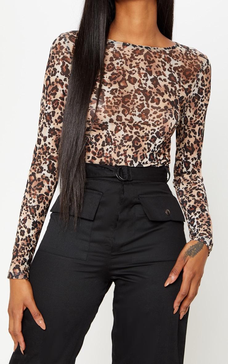 2afac2626e19 Brown Mesh Leopard Print Long Sleeve Top | PrettyLittleThing AUS