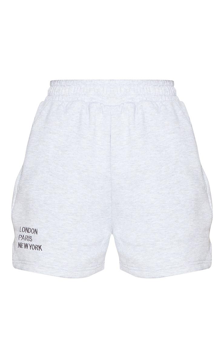 Ash Grey City Slogan Sweat Shorts 6